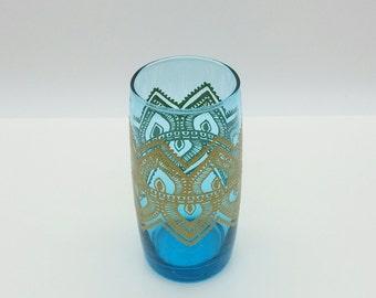 Moroccan Henna Mehndi Mandala Inspired Hand Painted Glass Tumbler Turquoise Gold Filligree