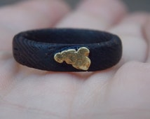 SALE 20% Gold Nugget on Wenge wood ring size 9 1/2