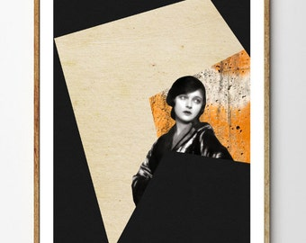 Paradox - Mixed Media Collage, Surreal Art Print, Art Deco Print, Portrait Art, Modern Print, Geometric Poster, Vintage Women
