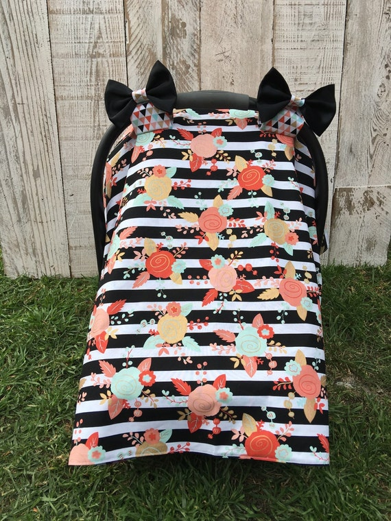 baby girl floral striped car seat canopy set car seat cover. Black Bedroom Furniture Sets. Home Design Ideas