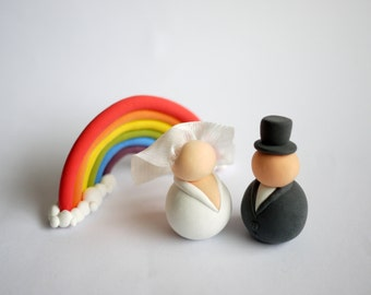 Bride and Groom Wedding Cake Topper (With or Without Rainbow)