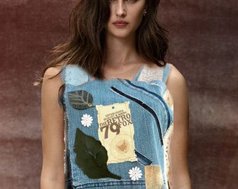 Steampunk Denim Cottage/ OOAK Top/Recycled fashion/Altered couture/gypsy style