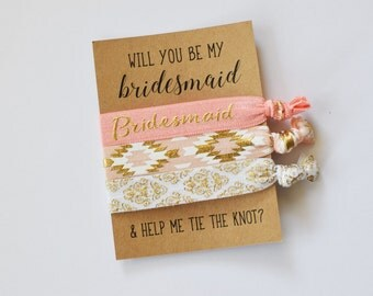 Will You Be My Bridesmaid // Help Me Tie the Knot // Bridesmaid Proposal// Bridesmaid Gift // Bridesmaid Hair Ties