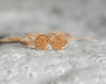 Wine cork earrings, sterling silver round studs, 9 mm stud earrings, recycled wine cork craft, wine lover gift idea ready for shipping