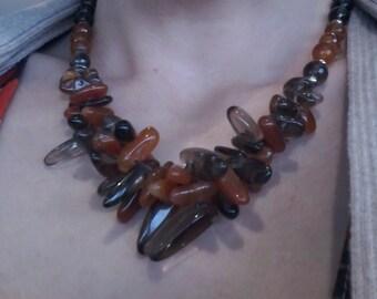 Sale was 79.99,Smokey quartz Carnelian necklace, Smokey quartz bib necklace, Smokey Quartz Carnelian Statement Necklace