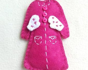 Coat felt ornament, Christmas tree decoration, Christmas tree ornament, handmade, home decoration