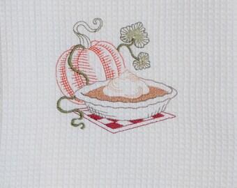Autumn Kitchen Towel - Embroidered Pumpkin pie waffle weave towel - Pumpkin and pie tea towel  - autumn kitchen decor