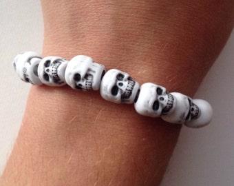 Skull Bracelet, Skull Bead Bracelet, Skeleton Bracelet, Halloween Bracelet, Gothic Bracelet, Men's Skull Bracelet, Halloween Jewelry