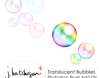 Commercial Use Instant Download Bubbles Brush for Photoshop with Tutorial - Sparkly Ethereal Bubble Brushes preset