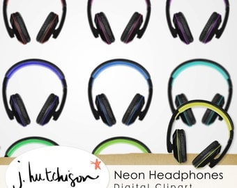 Modern Headphones Clip Art - 12 colors - digital download
