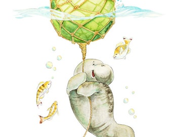 Manatee Nursery Art, Baby Manatee, Manatee Themed, Watercolor Float, Watercolour Nursery, Nursery Decor, Nursery Art, Beach House Art, Float