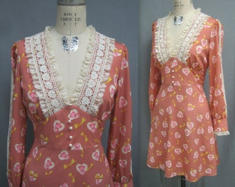 Vintage 70s Retro Victorian 40s Hippie Bohemian DRESS with  LACE Trim Back Ties  Bust 38.5""
