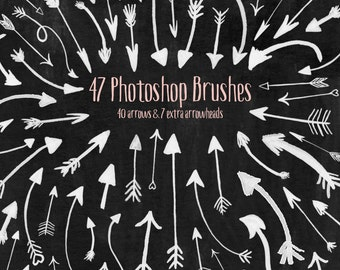 Arrow Photoshop Brushes, Boho Valentine Arrow Clipart, Scrapbooking Ink Arrows and Arrowhead clip art