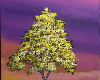 "Original 9"" x 12"" Acrylic Tree Painting. ""Golden"""