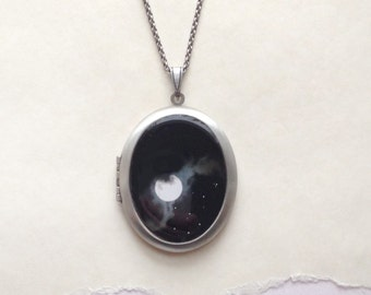 Full Moon Locket in Silver - Summer Moon in the Night Sky - Fine Art Photography Necklace