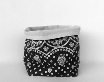 Rustic fabric storage bin, fabric basket, storage basket, housewarming gift, home decor