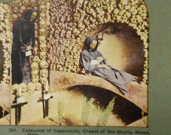 Catacomb of Cappuccini - Chapel of the Skulls - Rome, Italy - Stereocard Photograph