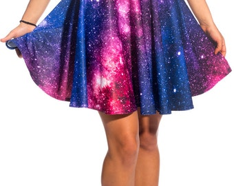 Galaxy Skirt, Skater Skirt, Circle Skirt, Festival Skirt, Mini Skirt, High Waisted Skirt, Short Skirt, Printed Skirt, Galaxy Clothing