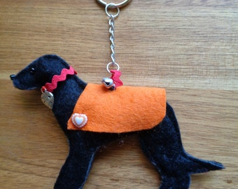 Black Felt Greyhound, Whippet, Lurcher dog charm key ring, key chain