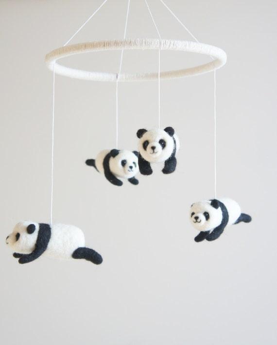giant panda nursery mobile crib mobile baby mobile by. Black Bedroom Furniture Sets. Home Design Ideas
