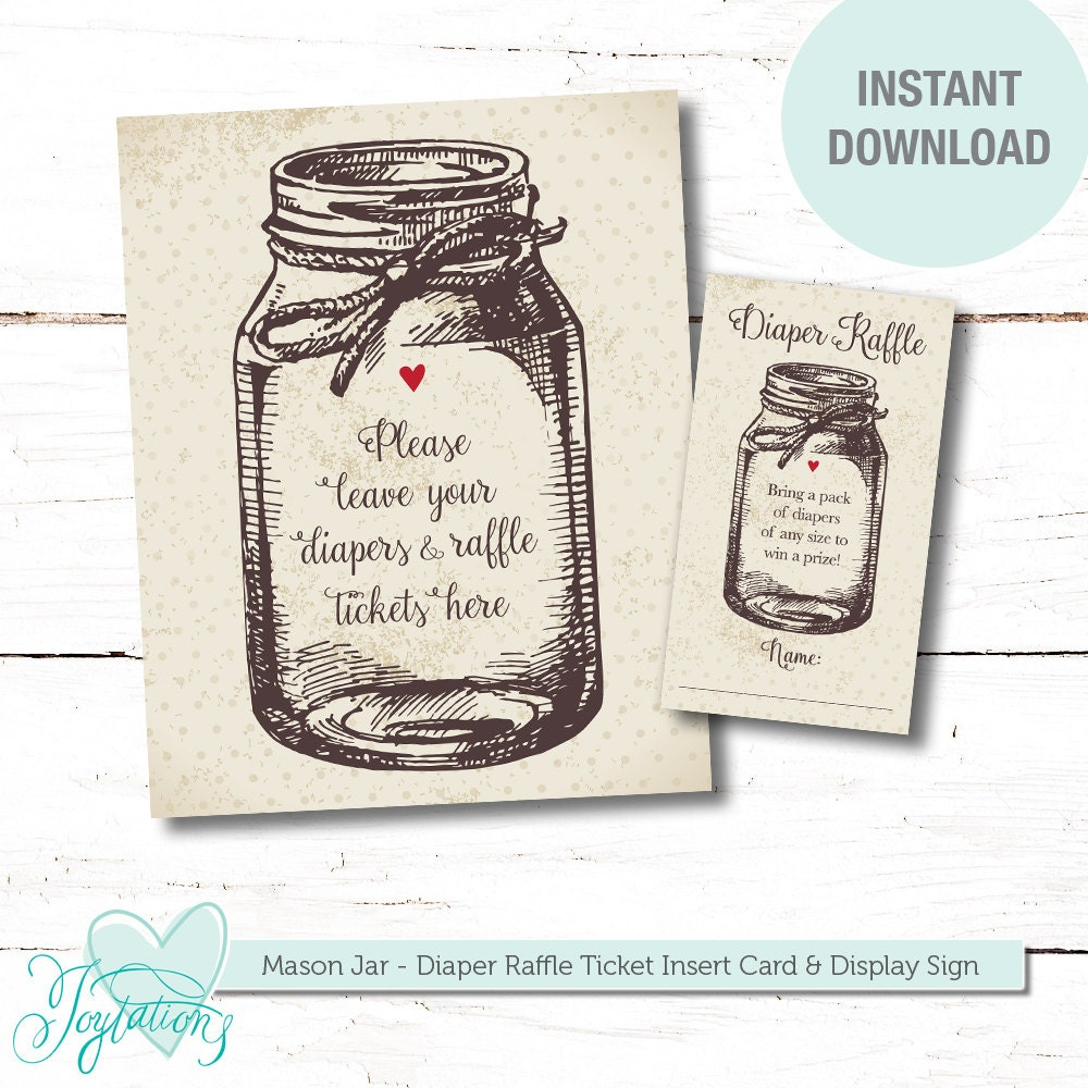 Table Speaker Card Inserts 4: Mason Jar Diaper Raffle Ticket Insert Card And Sign Printable