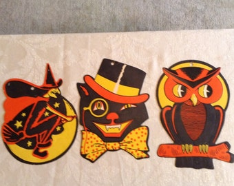 Sale.Vintage HALLOWEEN DECORATIONS. Set of Three. Wonderful DIE Cut Embossed.  Witch, Owl and Black Cat. Signed H. E. Luhrs. Usa. Vivid Colo
