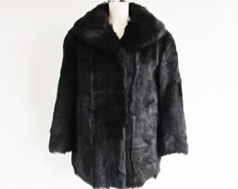 80s • Vintage Fur Coat • Black Fur Coat • Womens Fur Coat • Ladies Fur Coat • Black Fur Jacket • Winter Coat • Vintage Coat • Vintage Jacket