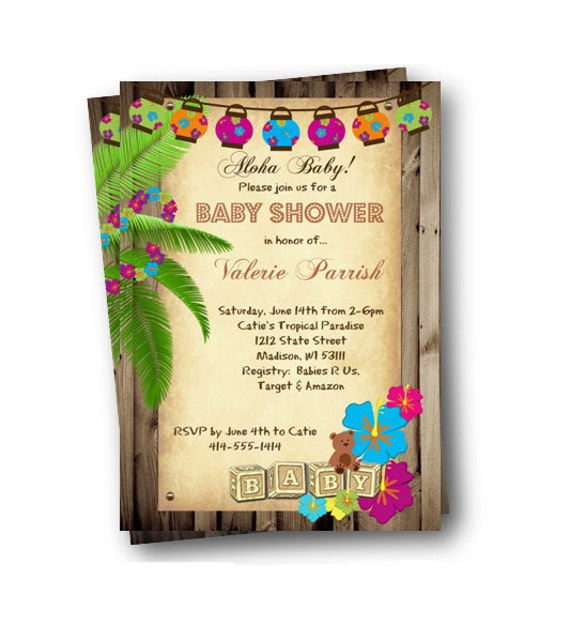 Luau Baby Shower Invitation Tiki Hawaiian Tiki Invite Backyard