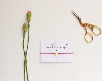 Make a Wish Gold Heart Bracelet, Gold Heart Bracelet, Gold Heart Jewelry, Heart Friendship Bracelet, BFF, Wish Bracelet, Wish Jewelry