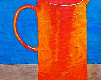 """Finished Brewing In the French Press (ORIGINAL ACRYLIC PAINTING) 5"""" x 7"""" by Mike Kraus"""