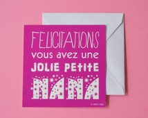 Funny born greeting card for little girl and its envelope