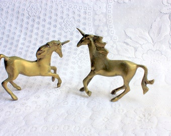 Set of Two Brass Unicorns, Brass Collectible, Unicorn Lover, Unicorn Collectible