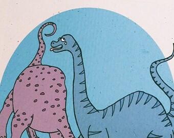 "Dirty Dinosaurs, ""Before Time Began,"" funny handmade adult art print"