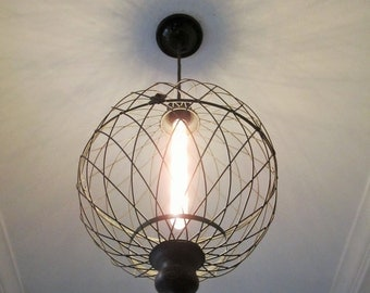 Rustic Lighting- Large Metal Globe Pendant Light -farmhouse, industrial light, pendant lighting, rustic chandelier