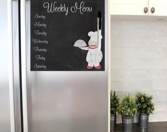 Chef dry erase menu board, weekly menu board, dinner menu board, faux chalkboard menu, fat chef decor, comes with magnet and velcro strip