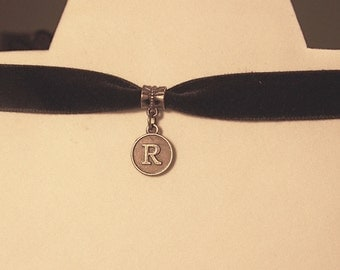Initial Choker-Personalized Necklace; BRONZE; name choker; Choker with letter, Alphabet initial choker; velvet choker; Monogrammed necklace