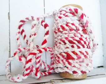 Fabric Twine, Red and White, Bakers Twine, Macrame Cord, Recycled Fabric Scrap Rope, Eco Friendly, Boho Rag Rug, Basket Making, Craft Supply