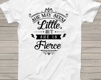 Girls Birthday tshirt, She may seem little but she is Fierce tshirt, boho shirt, baby shower gift, birthday tshirt