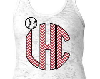 Baseball Monogram Tank Top Round . Burnout Tank Top. Soft Tank Top. Monogram Tank, Summer Tank,  Personalized Tank, Monogram, Personalized