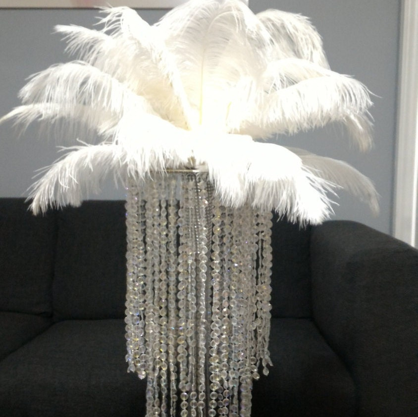 Chandelier vase ostrich feather centrepiece kit