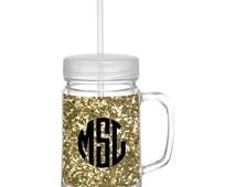 Monogrammed Gold Glitter Mason Jar - Glitter Mason Jar - Acrylic Mason Jar - Monogrammed Mason Jar