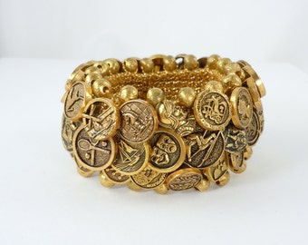 Vintage Woven Button Bracelet, Stretch Bracelet, Gold Tone Non-Metal Buttons, Various Designs, 1980's, Ornate Buttons, One Size Fits Most
