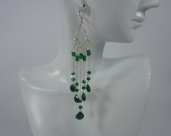 Emerald Gemstone Chandelier Earrings