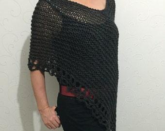 Wool  poncho, black wool poncho , black cape, knit poncho sweater, winter sweater poncho, knitwear, women trend