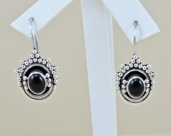 Sterling Silver And Black Onyx Earrings (8.0 grams)