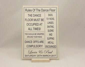 Personalised Wedding Sign, Rules of the Dance Floor, Wedding Sign idea, Wedding Keepsake Gift, Handmade SK Products, 311