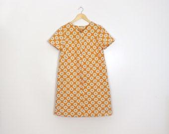 Vintage 1960s Flower Power Mod Shift Dress, Size L