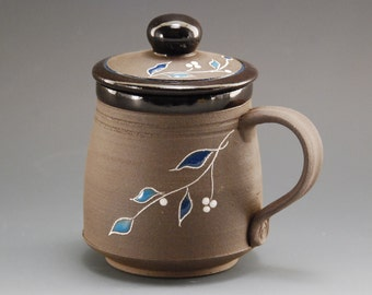 Pottery mug, mug, coffee mug, handmade ceramic mug, pottery coffee mug, coffee mug handmade, mug with lid, black mug, brown mug, tea cup