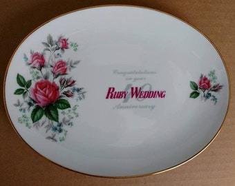 Vintage 40th Ruby Anniversary Plate, Wedding Celebration Gift, Fine China, CANADA