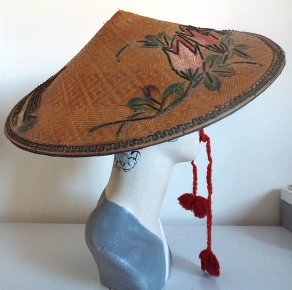 Coolie Hat: VINTAGE Hat Ladies 1920/30s Genuine Burmese Conical Coolie